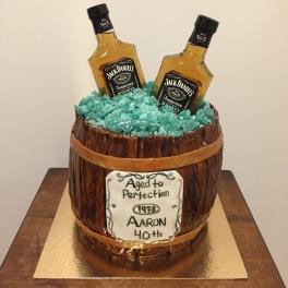 Whiskey barrel cake