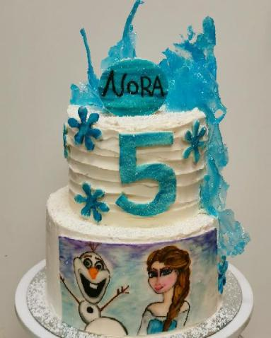 Frozen birthday cake with hand painted Ilsa and Olaf