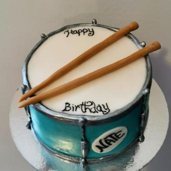 snare drum cake with handmade fondant details