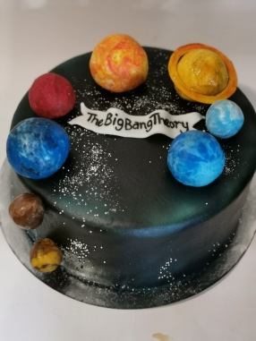 Big Bang Theory cake with handmade fondant details