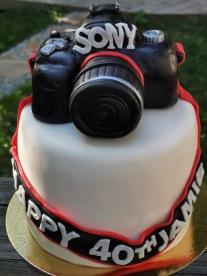 Camera cake with handmade fondant details