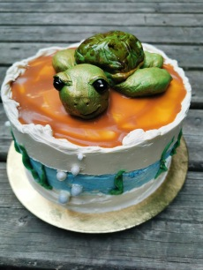 Turtle cake with handmade fondant turtle