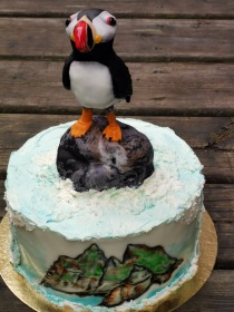 Puffin cake with handmade fondant details