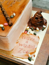 "Harry Potter ""book of spells"" cake, with handmade fondant details"