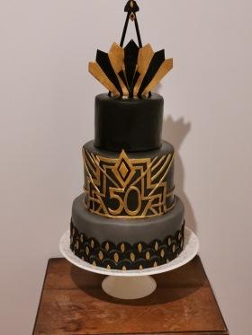 Art Deco themed birthday cake