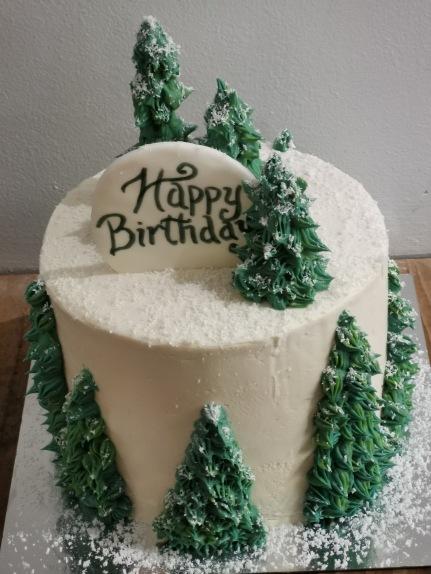 buttercream snowy trees cake