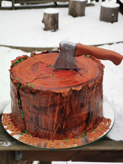 lumberjack cake, tree stump cake with handmaid fondant hatchet