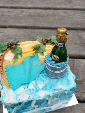 Champagne on the beach cake