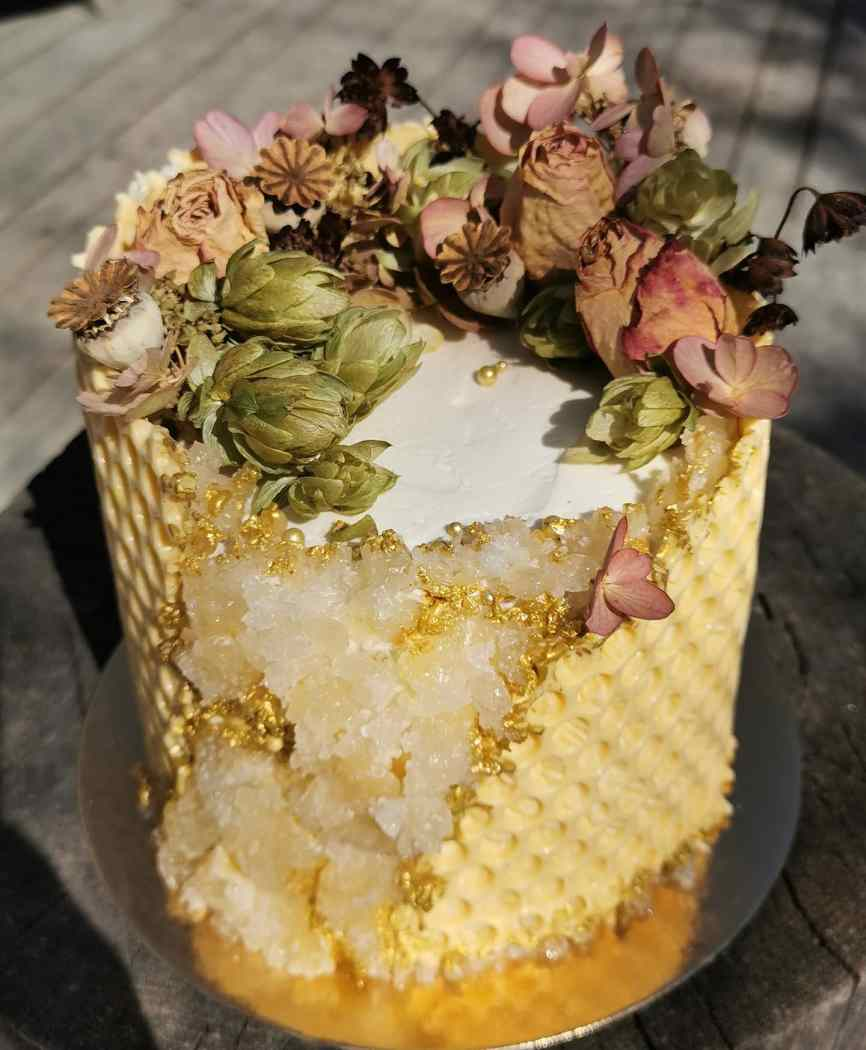 Honeycomb geode cake with dried flowers