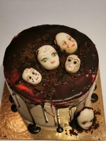 Halloween doll head cake